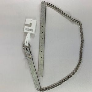 NWT Michael Kors Silver Leather & Chain Belt SizeM